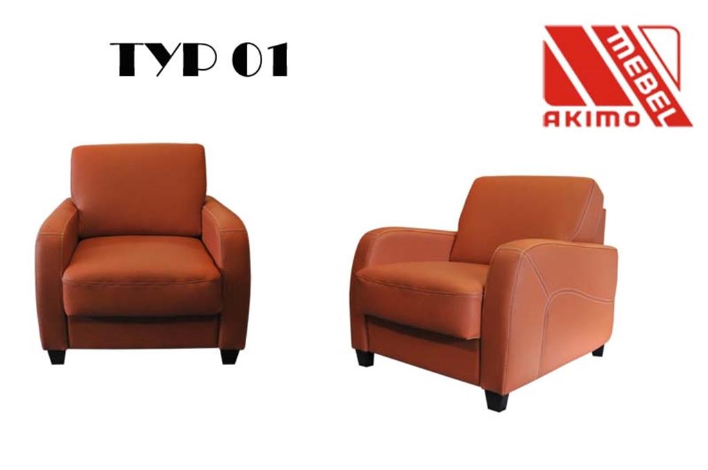 Typ 01 fotel z ozdobnymi przeszyciami